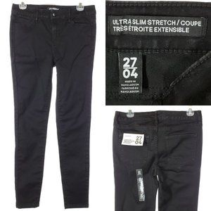 NEW JOE FRESH Ultra Slim Jeans Black Mid Rise